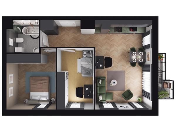 Toruńska Wołomin - wizualizacja mieszkania 016/1